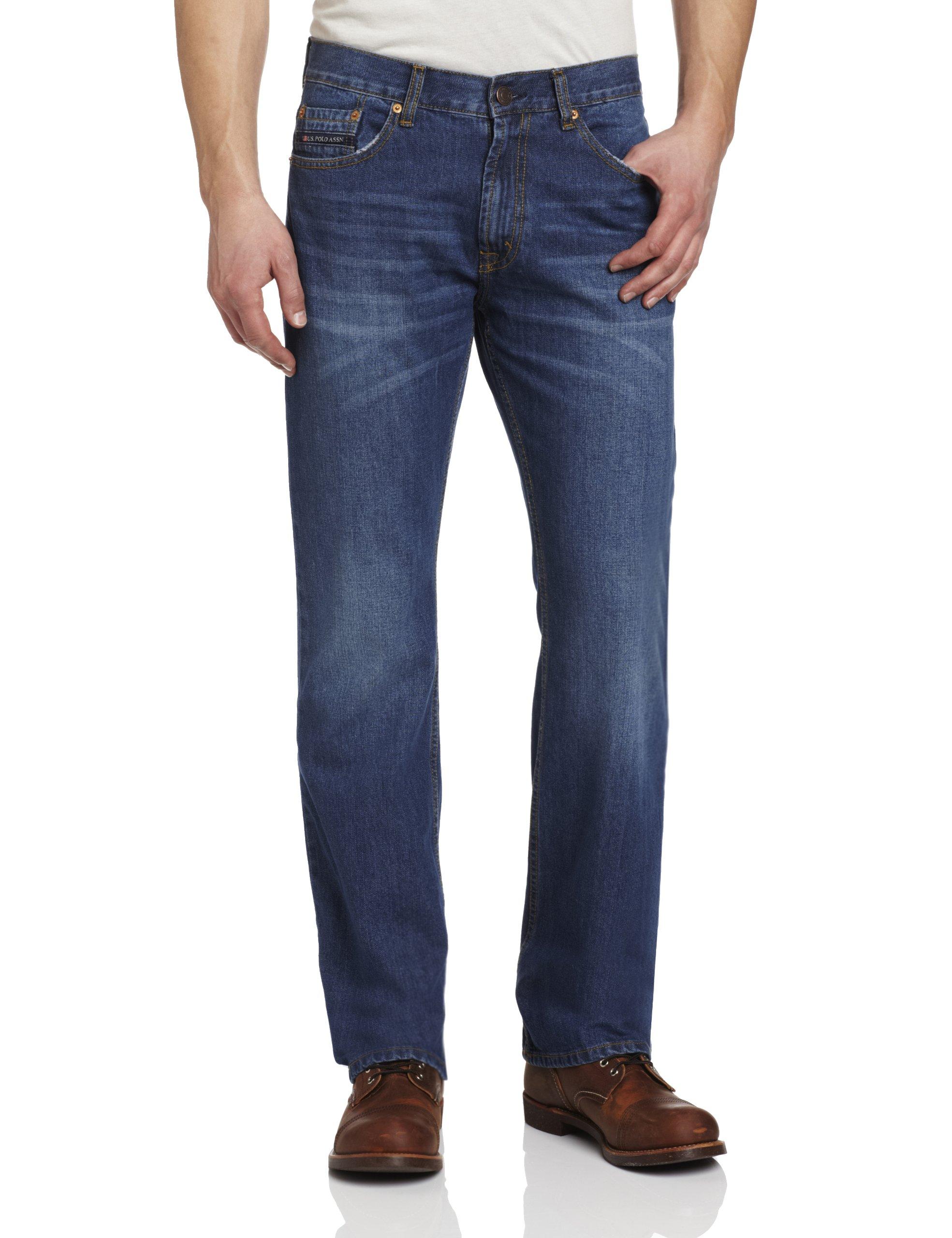 U.S. Polo Assn. Men's Five Pocket Boot Cut Jean,  Blue, 34x30