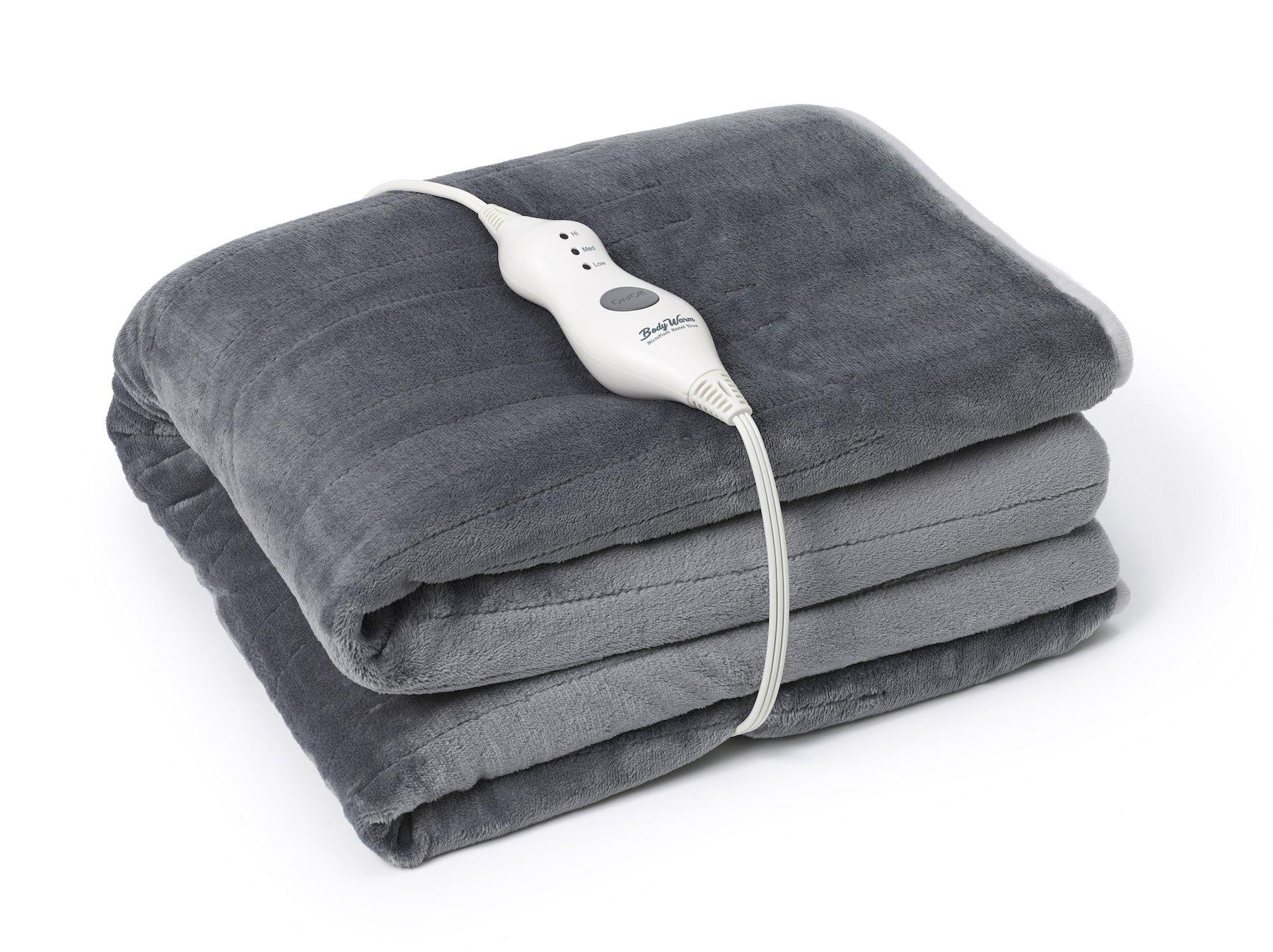 Thaynards BodyWarm MicroPlush Heated Throw – Warm Grey, Auto-Off, Anti-Pilling, Machine Washable