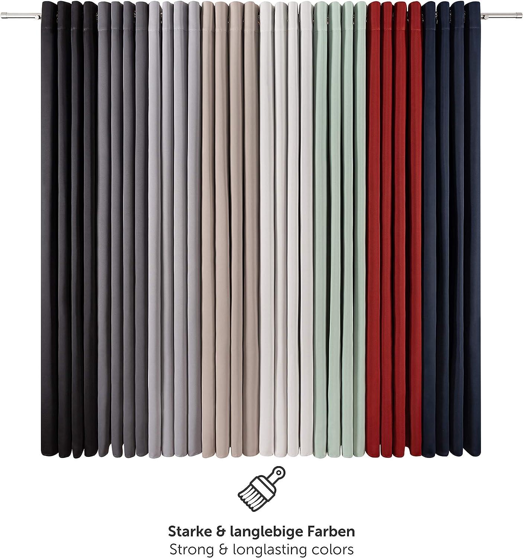 Eleganter Vorhang mit /Ösen f/ür Schlafzimmer 145 x 140 cm Blumtal 2er-Set Gardinen Verdunkelungsvorhang Blickdicht Anthrazit