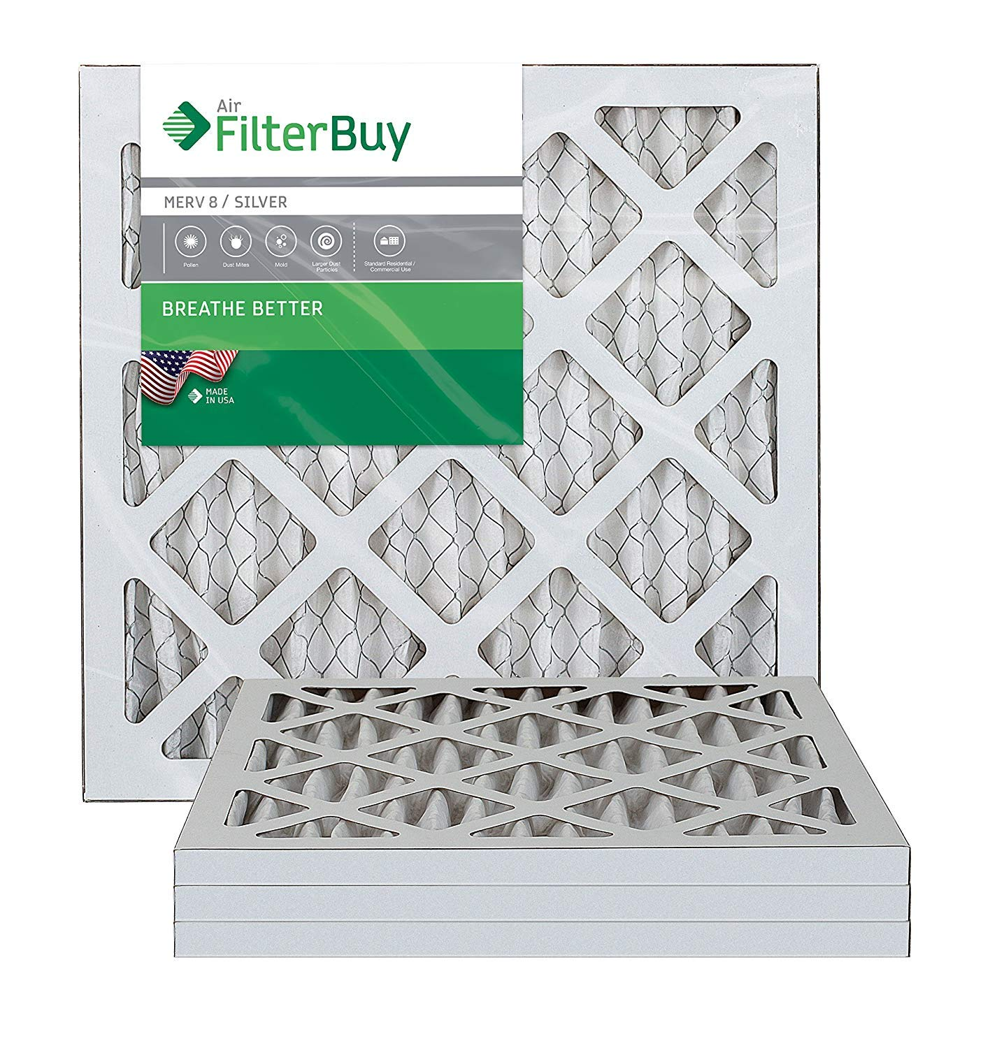 FilterBuy 16x16x1 MERV 8 Pleated AC Furnace Air Filter, (Pack of 4 Filters), 16x16x1 - Silver