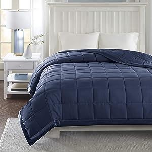 Madison Park Down Alternative Blanket Hypoallergenic 3M Scotchgard Stain Resistant Bedroom Bedding, Standardsized Full/Queen, Windom Navy