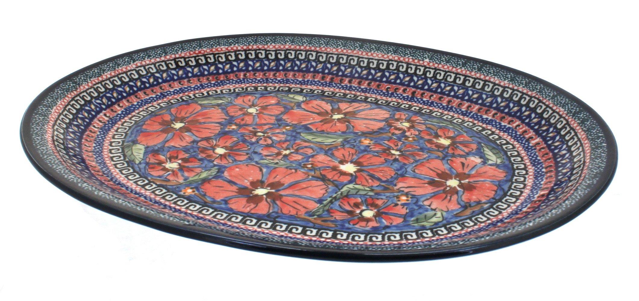 Polish Pottery Jungle Flower Large Oval Serving Platter