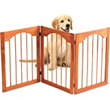 Kleeger Wooden Pet Gate, Foldable & Freestanding, For Indoor Home & Office Use. Keeps Pets Safe [Natural Classic Arch Decorative Design]. DESIGNED FOR SMALL PETS. Easy Set Up, No Tools Required.