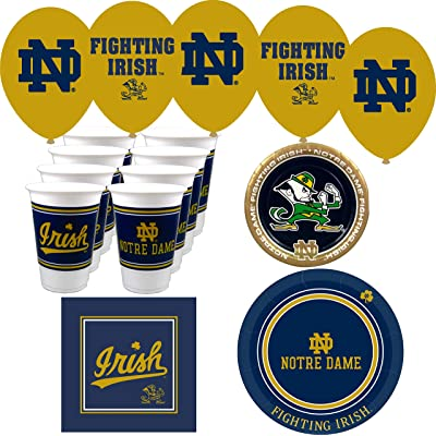 Westrick Notre Dame Fighting Irish Cups, Plates, Napkins and Balloons for 16 Guests (74 Pieces): Sports & Outdoors