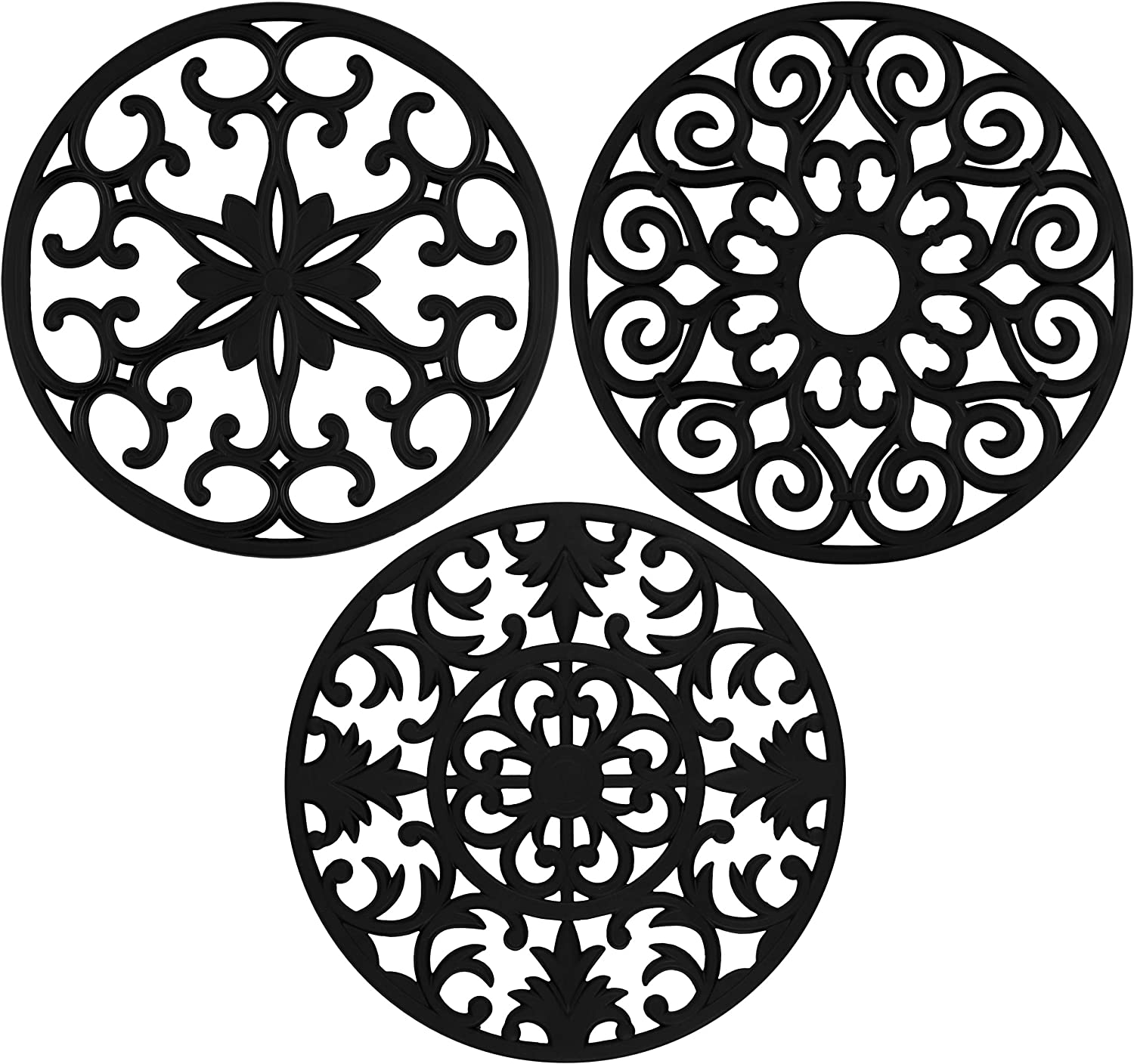 """gasaré, Extra Large, Extra Thick, 10"""" Silicone Trivets for Pots, Pans and Hot Dishes, Trivet Mat, Non-Slip, Dishwasher Safe, for Countertops, Dining Tables, 10 x 3/8 inches, Set of 3, Black"""