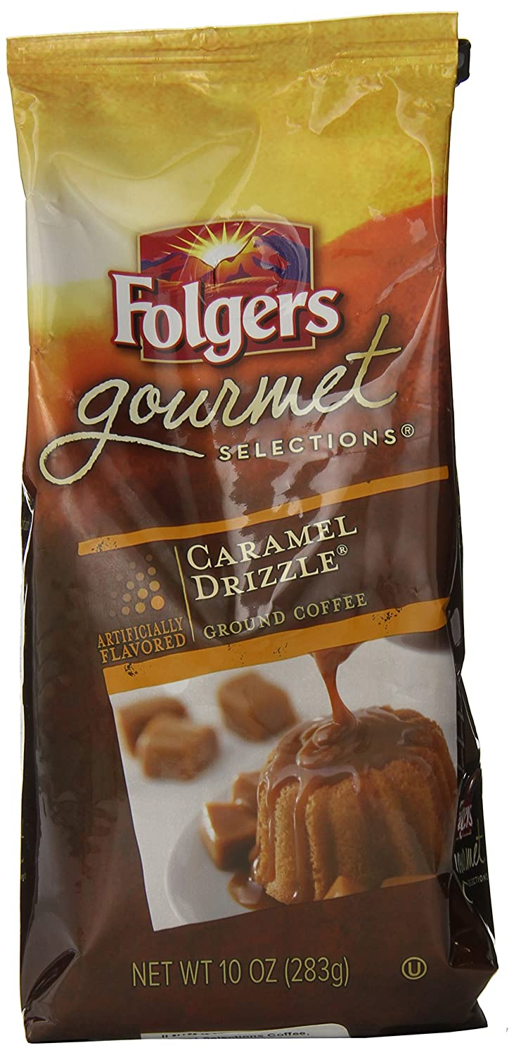 folgers caramel drizzle flavored ground coffee 10 ounce amazon folgers caramel drizzle flavored ground coffee 10 ounce amazon com grocery gourmet food