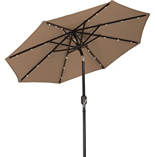 Trademark Innovations 7u0027 Solar LED Patio Umbrella ...