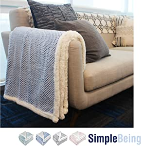 Simple Being Premium Sherpa Plush Fleece Throw Blanket for Couch, Sofa, Bed, Couch, Office Lap, Lightweight, Warm, Cozy, Soft, Fluffy, Reversible, Luxury TV Blanket - (50x65 inches, Blue)