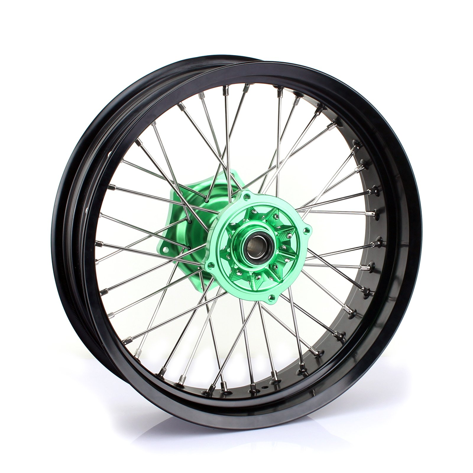 TARAZON 17 x 4.25 Supermoto Rear Complete Wheel Kit Black Rim Green Hub for Kawasaki KX125 KX250 2003-2013 KX250F 2004-2017 KX450F 2006-2017 klx450 2007-2013