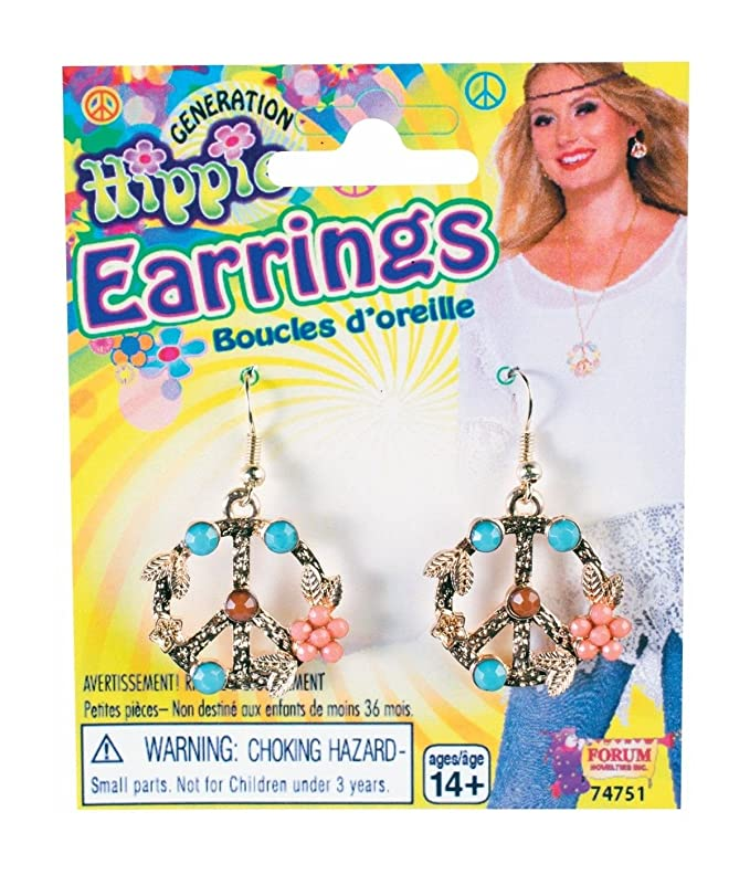 Vintage Style Jewelry, Retro Jewelry Forum Novelties Leafy Flower Hippie Peace Sign Earrings $5.12 AT vintagedancer.com