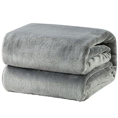 Bedsure Fleece Blanket Twin Size Grey Lightweight Super Soft Cozy Luxury Bed Blanket Microfiber
