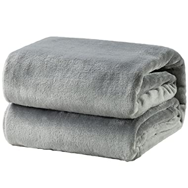 Bedsure Flannel Fleece Luxury Blanket Grey King Size Lightweight Cozy Plush Microfiber Solid Blanket