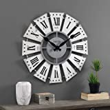 FirsTime & Co. White Numeral Farmhouse Windmill Clock, American Crafted, Aged White, 24 x 2 x 24 ,