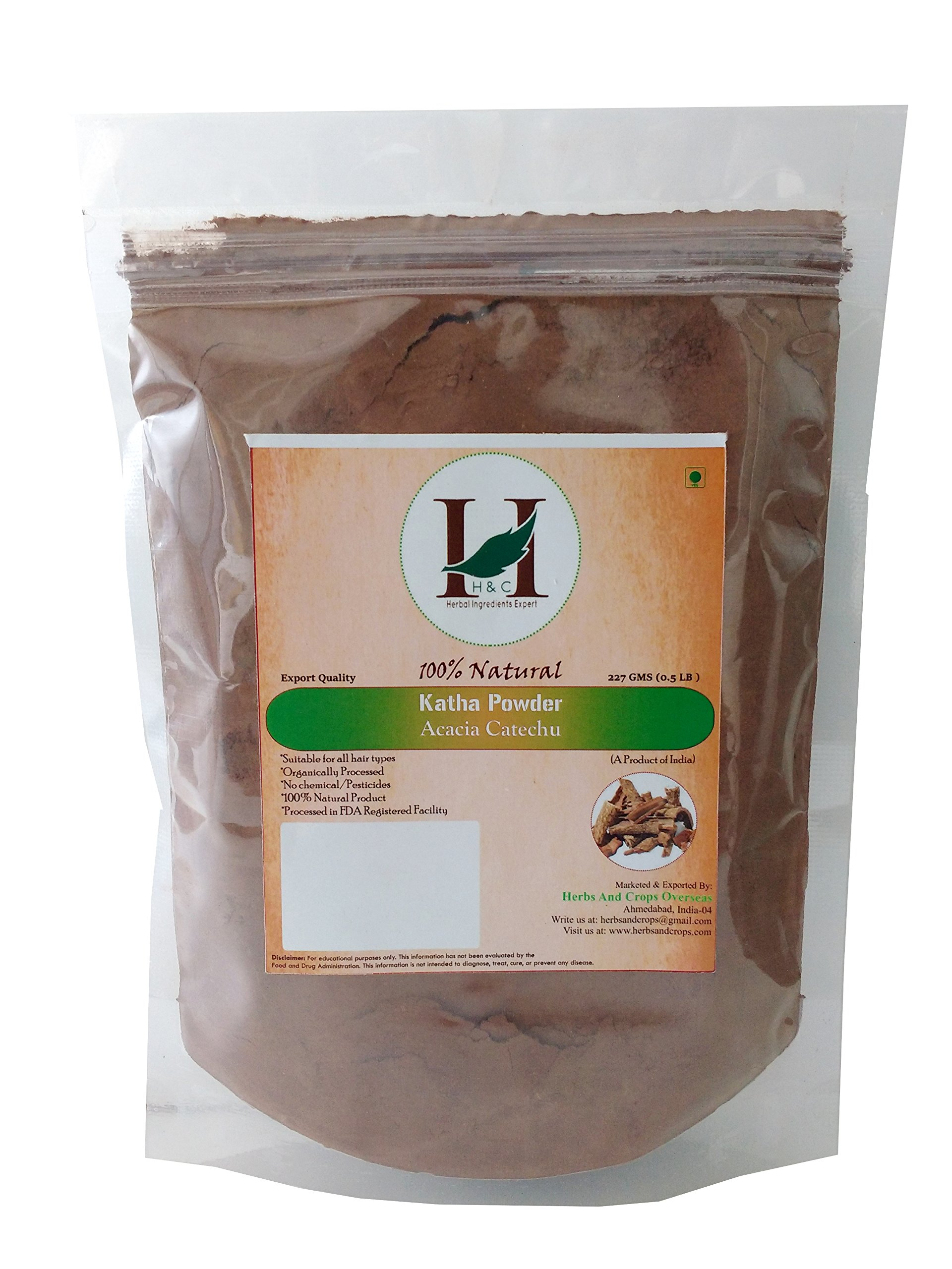 100% Natural Organically Cultivated Katha Powder - Acacia Catechu - For Natural Hair Conditioning and coloring - 227 Grams / 0.5 LB / 08 Oz - Processed in FDA registred faciltiy by H&C