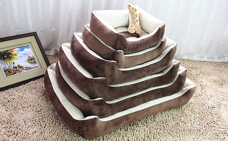 Fleece Pet Dog Bed Soft Cushion Bone Print Large Breed Dog House for Labrador Golden Retriever Winter Spring Dog Mat,Style1Brown,M