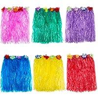 Blulu 6 Pezzi Multicolore Gonna Hawaiana di Seta Falso Fiori Erba di Hula Vestito per Festa in Costume, Compleanni, Celebrazione