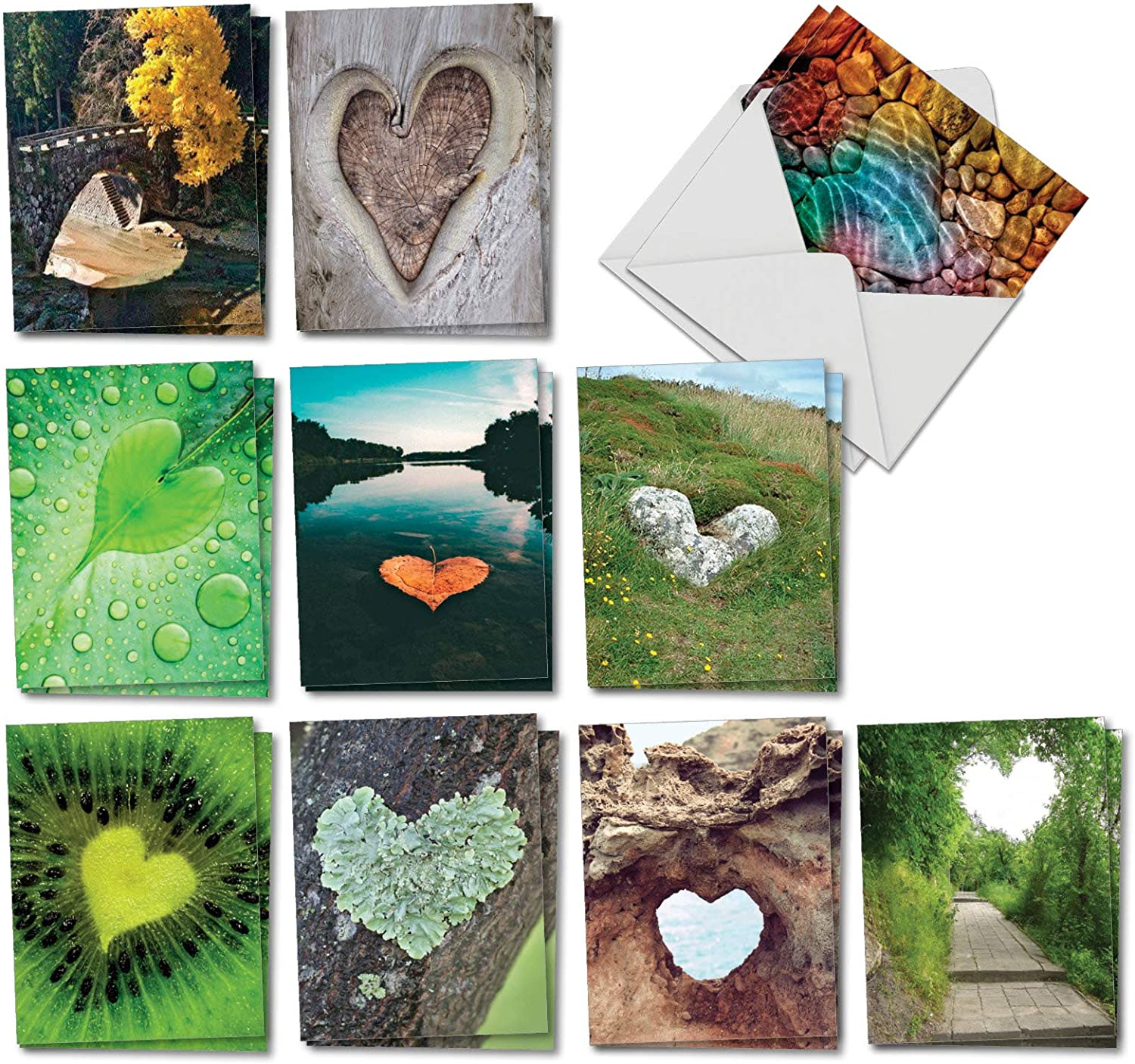 The Best Card Company - 20 Landscape Nature Note Cards Blank (4 x 5.12 Inch) (10 Designs, 2 Each) - Heartscapes AM6838OCB-B2x10