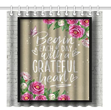 Wknoon 72 X Inch Shower Curtain Christian Quotes Bible Verse Scripture Proberbs Begin