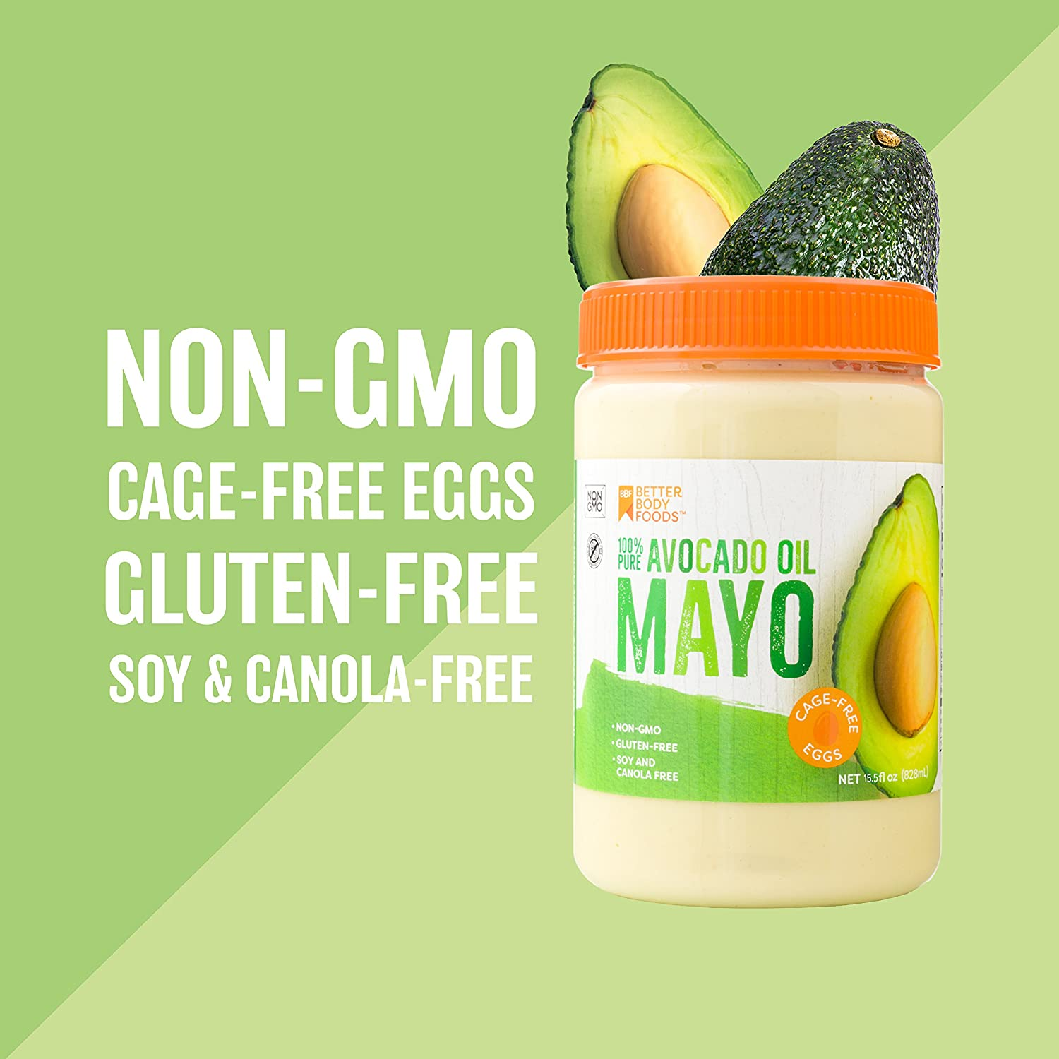 Avocado Oil Mayo is made with 100% Avocado Oil Non-GMO