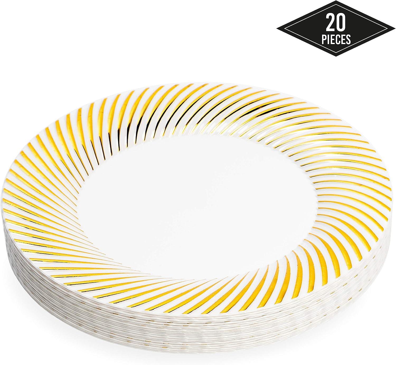 20 Elegantes Platos Desechables de Plástico Duro con Borde Oro, 26cm, Resistentes y Reutilizable| Vajilla Desechables Dorado para Catering Bodas Fiestas.