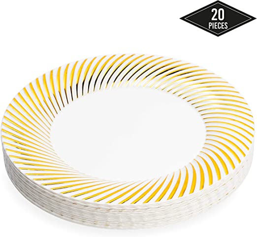 26cm Resistentes y Reutilizable 20 Elegantes Platos Desechables de Pl/ástico Duro con Borde Oro Vajilla Desechables Dorado para Catering Bodas Fiestas.