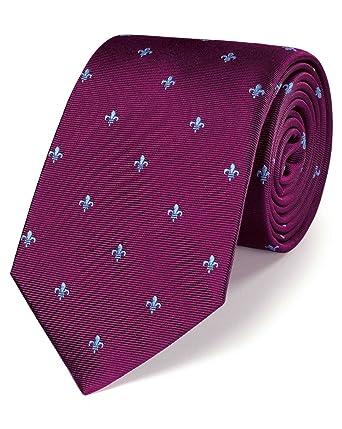 Corbata clásica burdeos de seda con motivo de flor de lis: Amazon ...