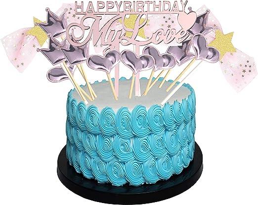 Beauty Gold Acrylic Heart Cake Topper Dessert Birthday Party Lovely Decoration