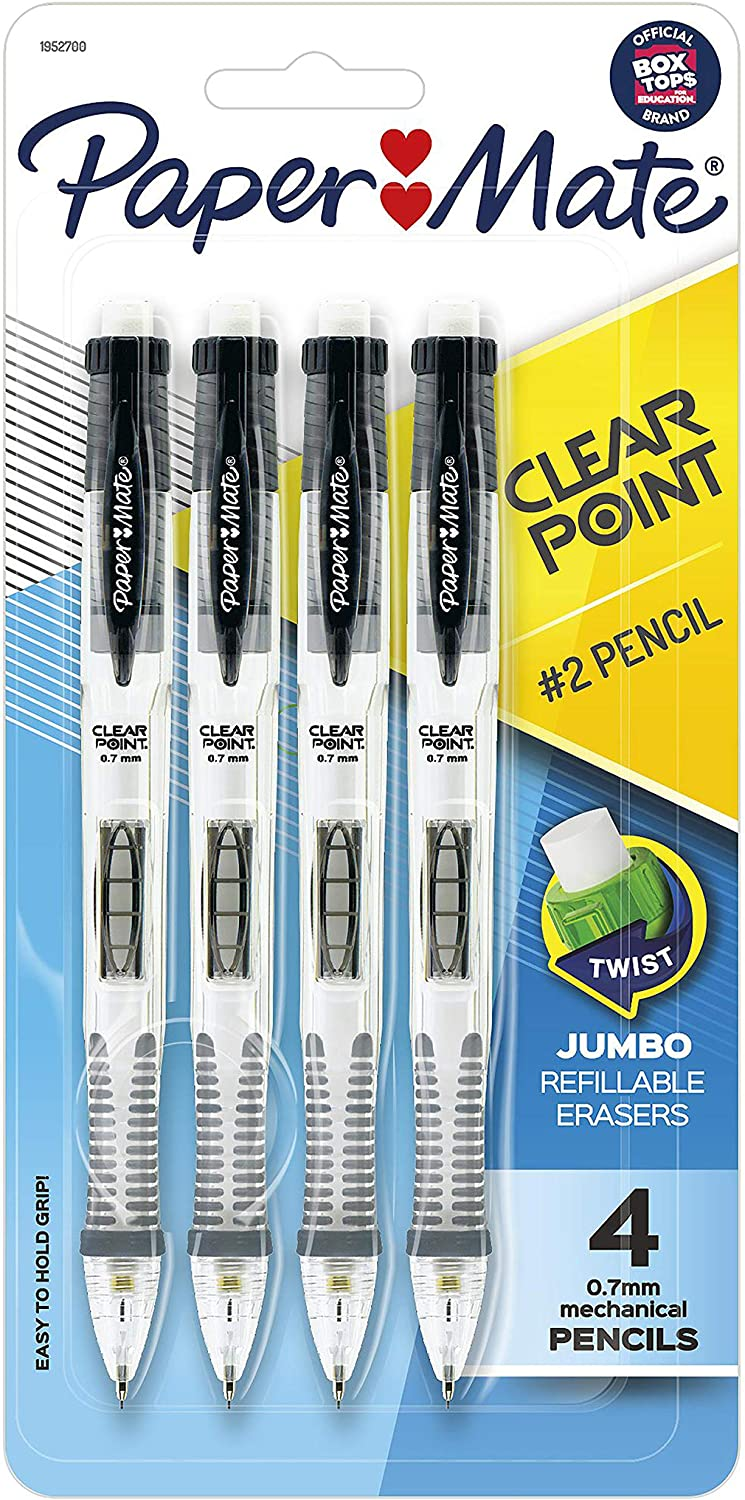 Papermate 1952700Paper Mate Clearpoint Mechanical Pencil, 0.7 mm, Black Barrel, Refillable, 4-pack : Office Products