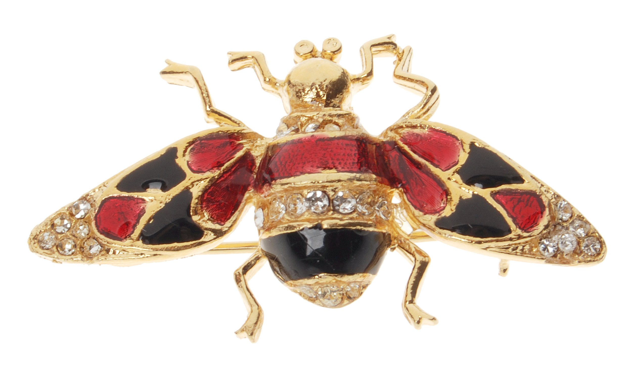 L. Erickson Buzzing Bee Enamel Brooch - Black/Red/Gold