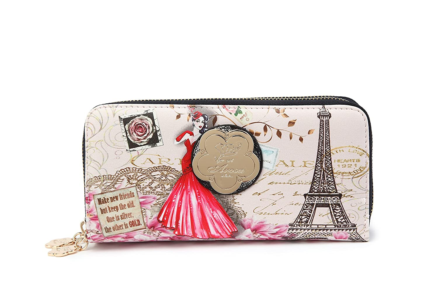 Arosa Vintage Hollywood Collections Pink Lady Zipper Wallet Vintage Hollywood Graphic Design FAW8689