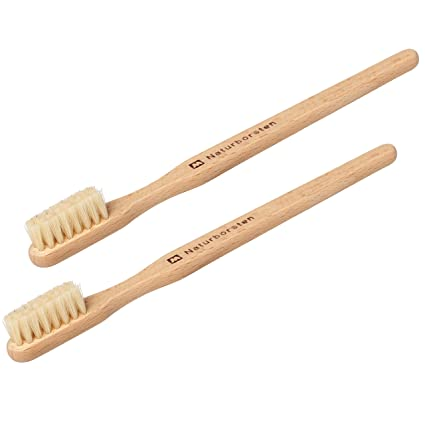 REDECKER Small Pet Toothbrush with Pig Bristle and Beechwood Handle, Set of 2, 5