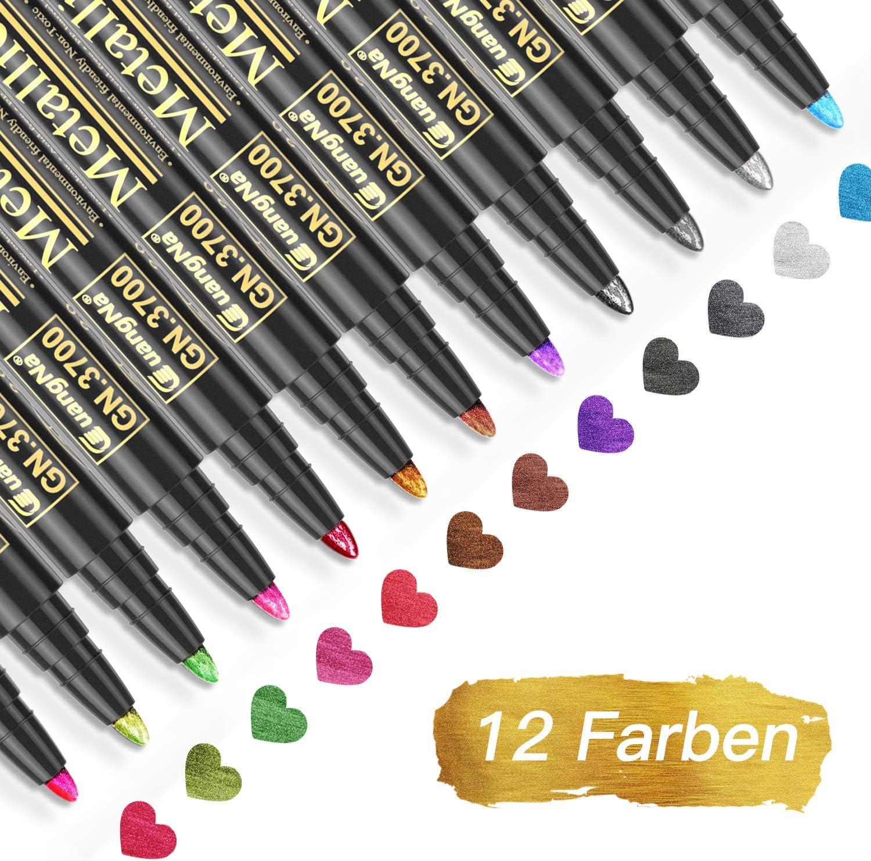 Baozun Rotuladores Metálicos, 12 Color Rotuladores de Metálico Permanente Scrapbooking Materiales: Amazon.es: Oficina y papelería