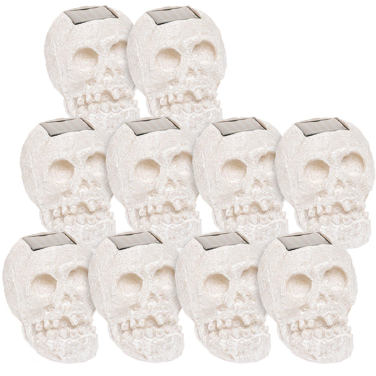(10 Pack) SKULLar Translucent Solar LED Outdoor Skull Fright Lights (White)