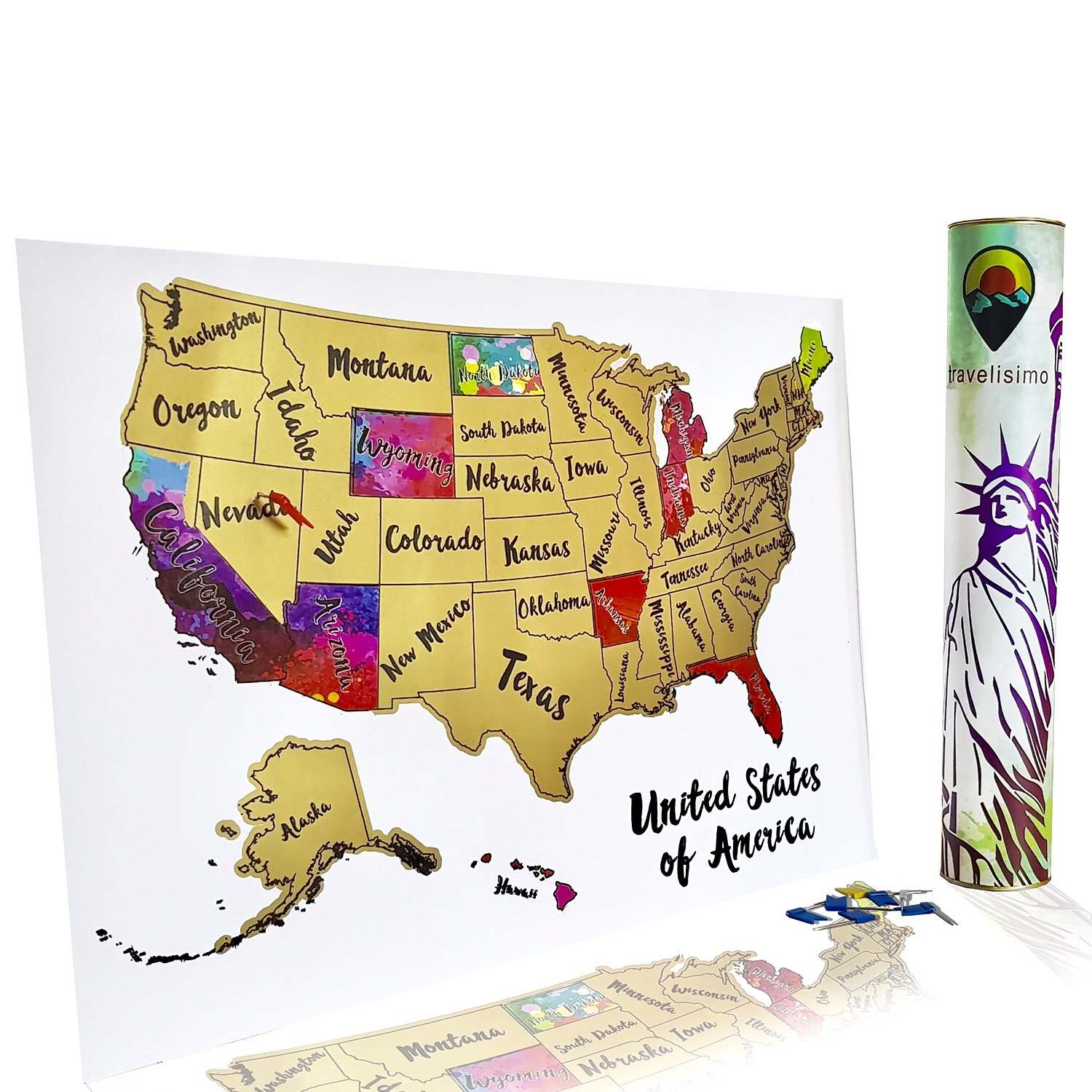 Scratch Off Map of The United States - 12x18 US Watercolor Poster for Road Trip - USA Travel Accessories - With 10 Flags for Next Visited States - Perfect Tracker Gift for Travelers by Travelisimo