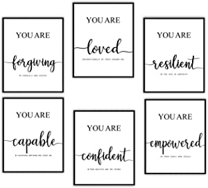 Inspirational Wall Art, Motivational Wall Art, Office Wall Decor, Wall Art For Bedroom and Living Room, Quotes Wall Art, Home Office Decor, Daily Positive Affirmations Posters (Set of 6, 8X10in Unframed)