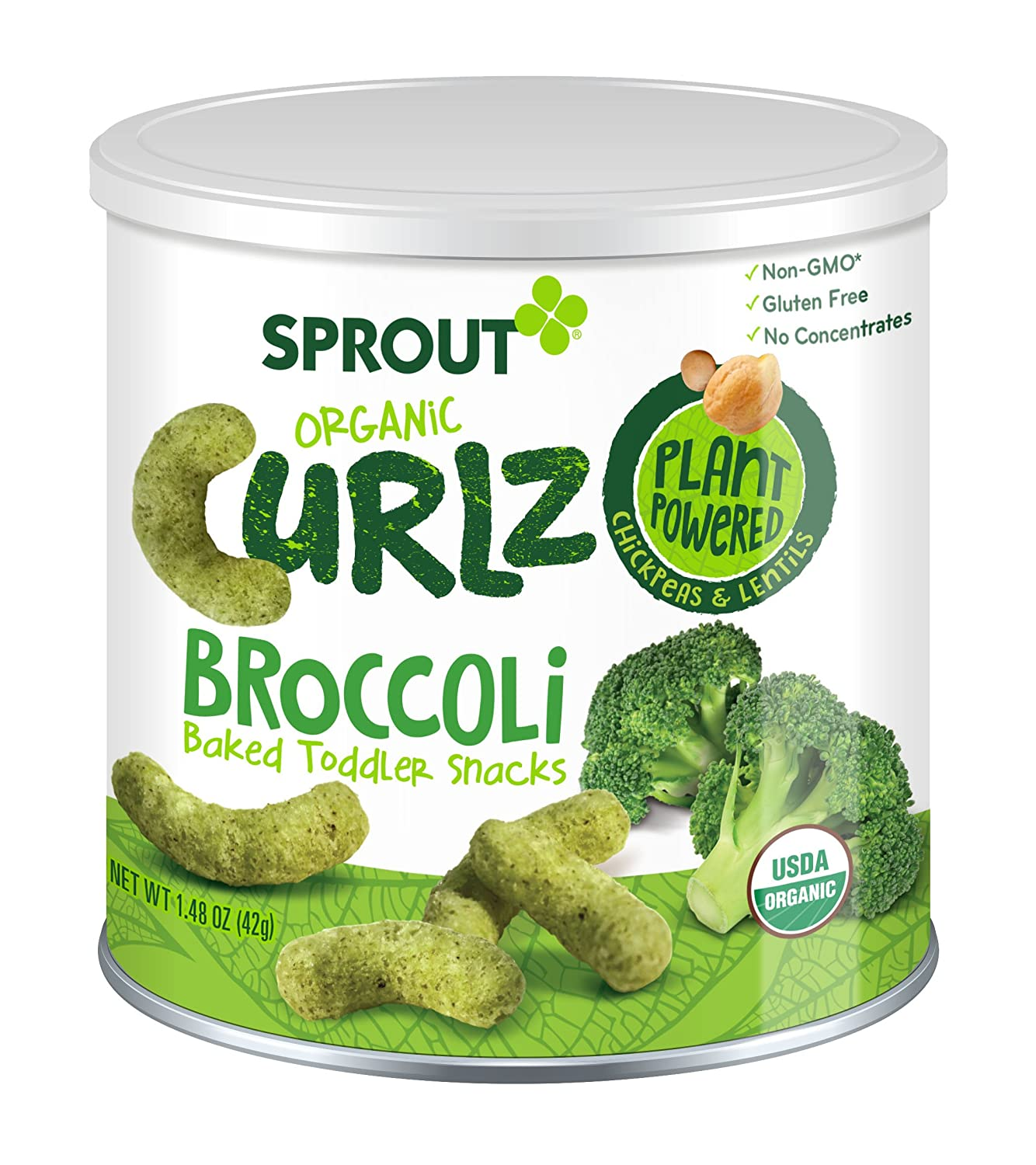 Sprout Organic Baby Food, Sprout Curlz Organic Toddler Snacks, Broccoli, 1.48 Ounce Canister