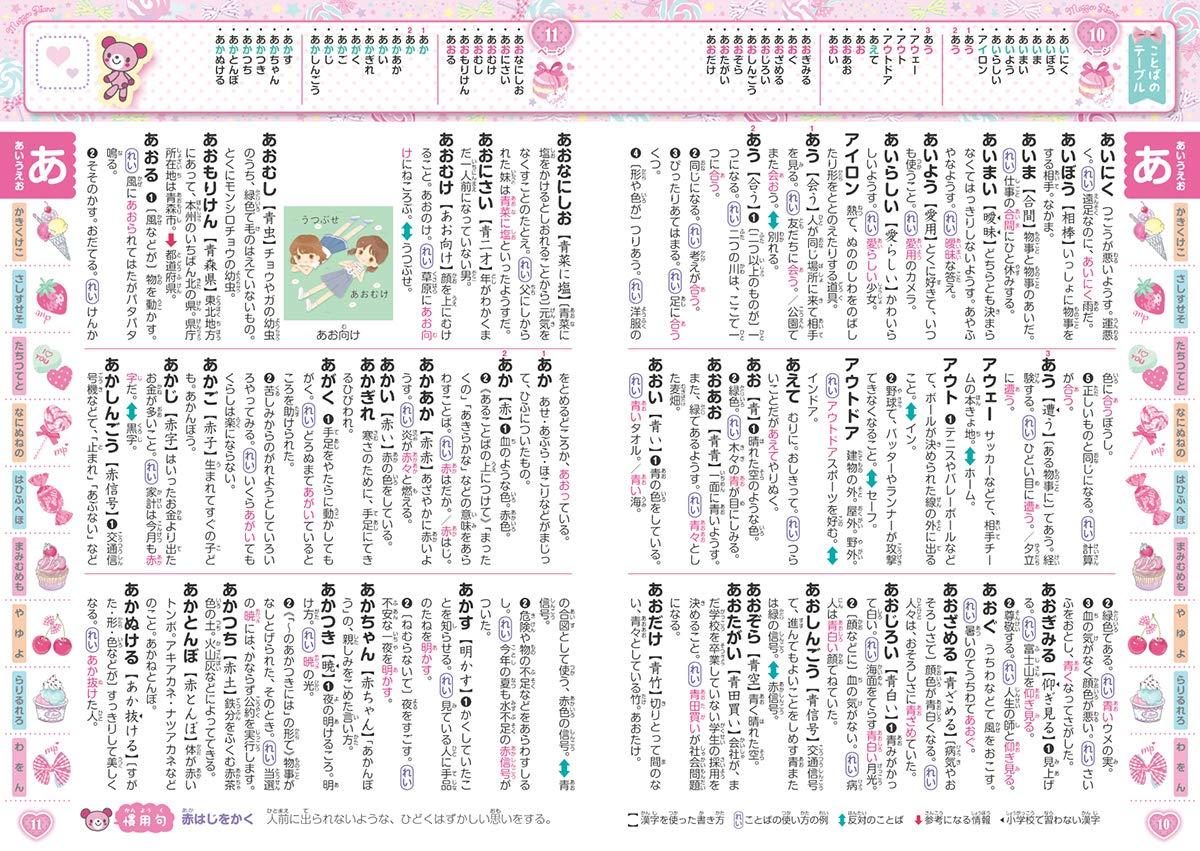漢字にふりがなが付き、字が大きく幼児でも読みやすい。「ことばのテーブル」(ページ上部)付きも分かりやすい!