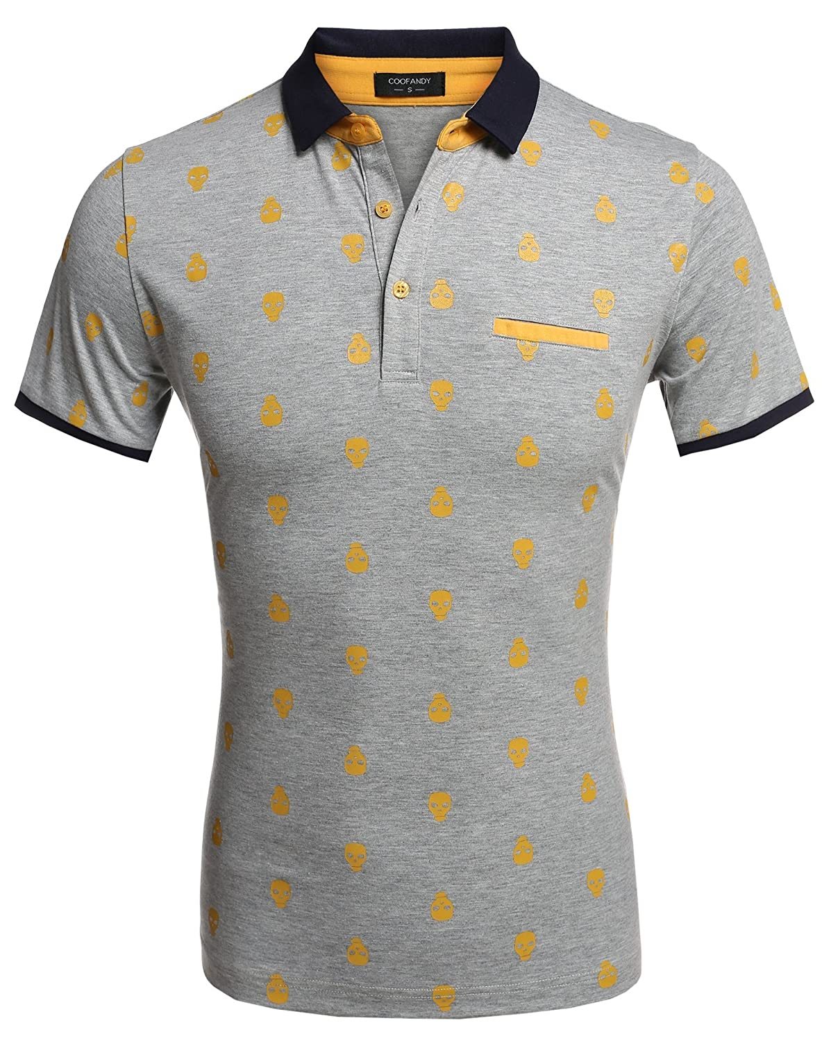 COOFANDY Men's Short Sleeve Skull Pattern Polo Shirts Slim Casual T-shirt