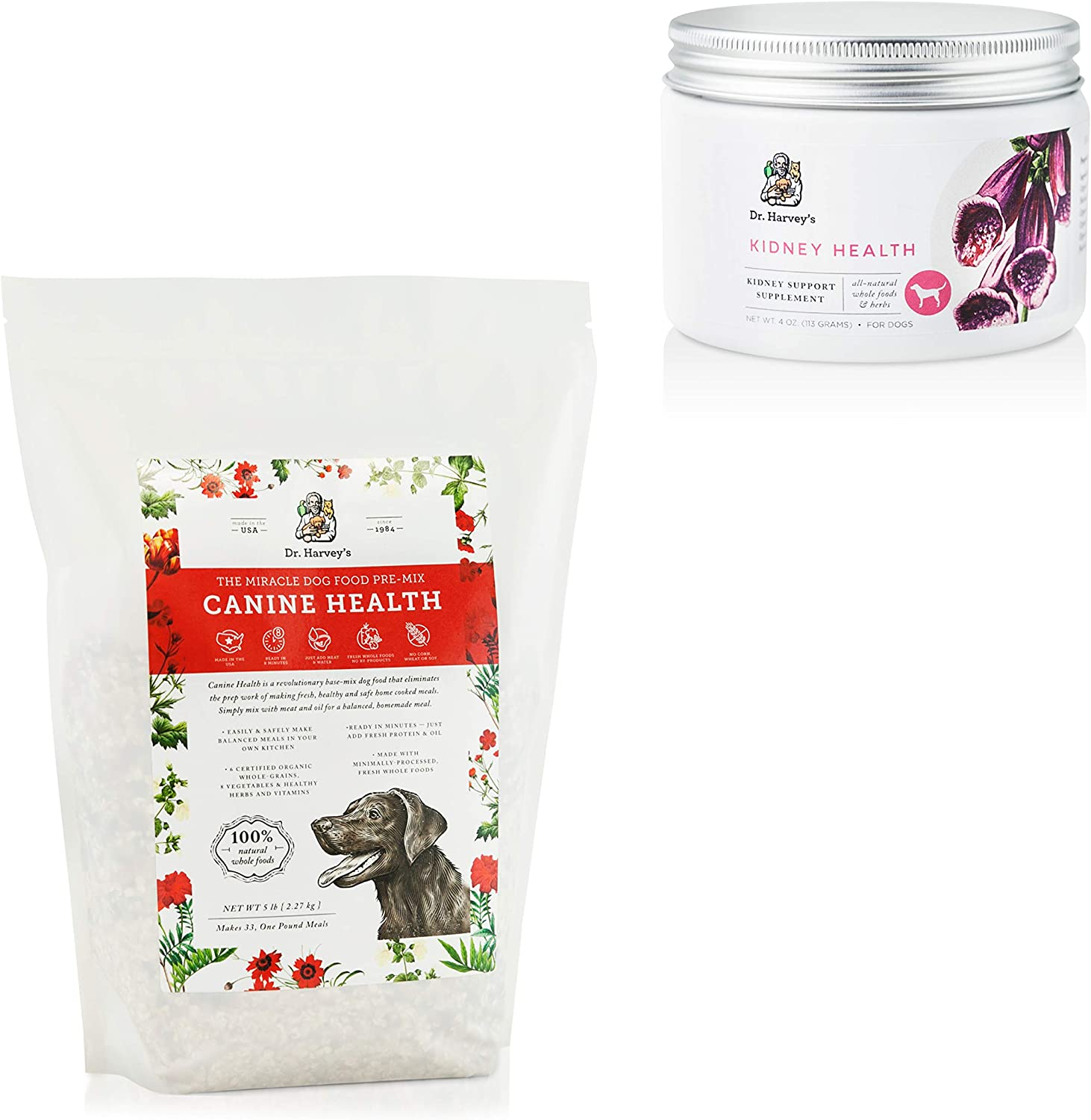 Dr. Harvey's Canine Health 5lb Base Mix for Dogs Kidney Health Whole Food Supplement for Dogs