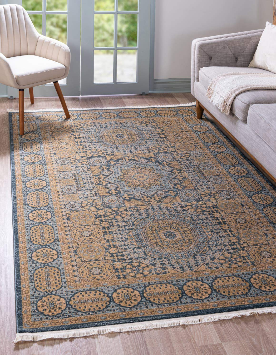 Unique Loom Palace Collection Traditoinal Geometric Classic Blue Area Rug 5 0 x 8 0