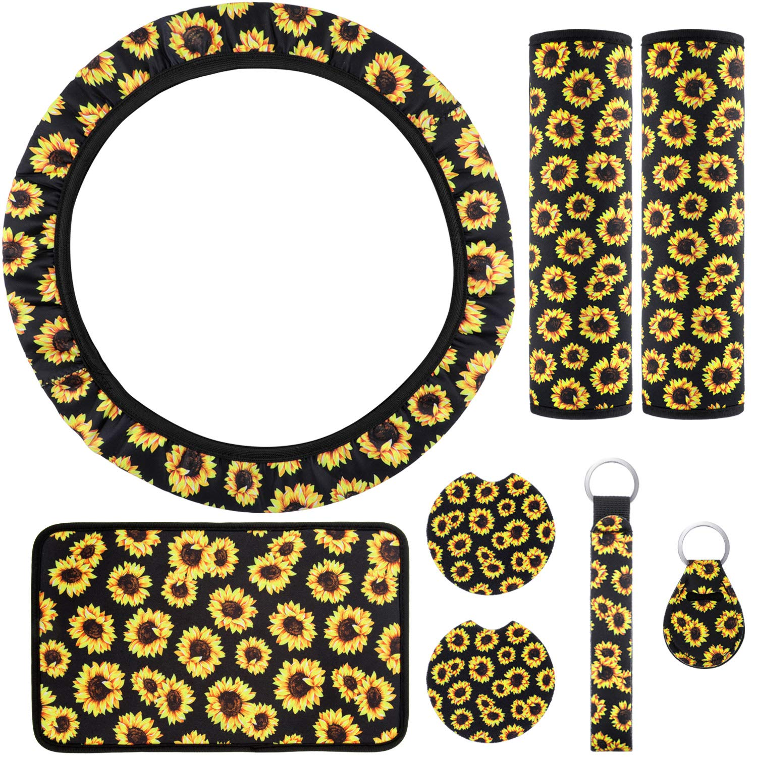 2 Pieces Car Cup Holder Coaster Includes Sunflower Steering Wheel Cover Center Console Armrest Pad 2 Pieces Seat Belt Covers 2 Pieces Sunflowers Keyrings 8 Pieces Sunflower Car Accessories Set