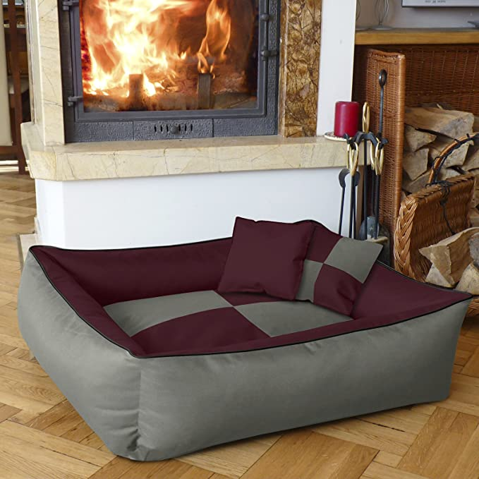 BedDog 2 en 1 colchón para Perro MAX Quattro XXXL Aprox. 150x110 cm, 8 Colores, Cama para Perro, sofá para Perro, Cesta para Perro, Burdeos/Gris: Amazon.es: ...