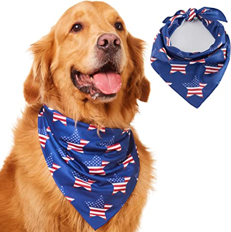 4th of July dog bandana red white and blue over the collar patriotic bandana snoopy Dog bandana star dog bandana