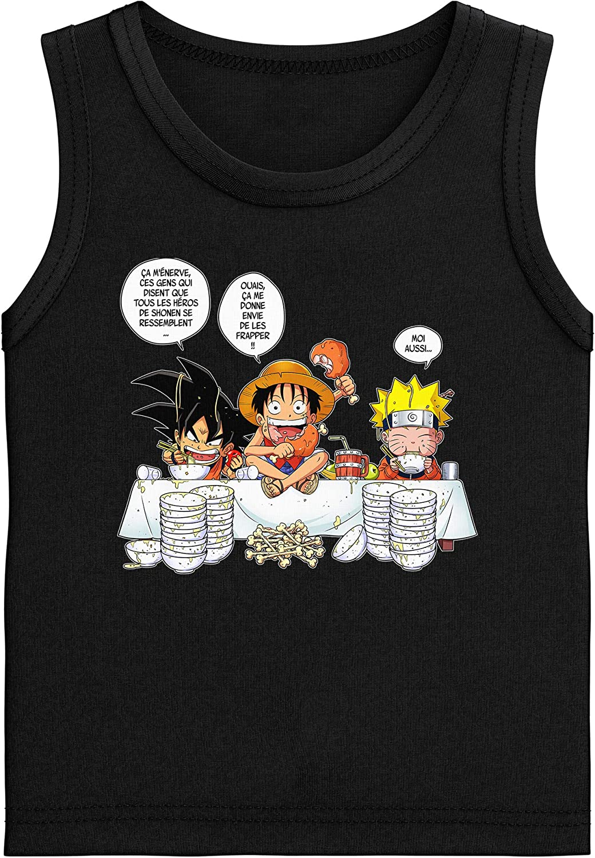 Parodie DBZ, One Piece et Naruto One Piece et Naruto parodique Luffy T-Shirt Femme Noir DBZ Naruto et Sangoku : La Recette dun Bon Shonen Manga Super Deformed