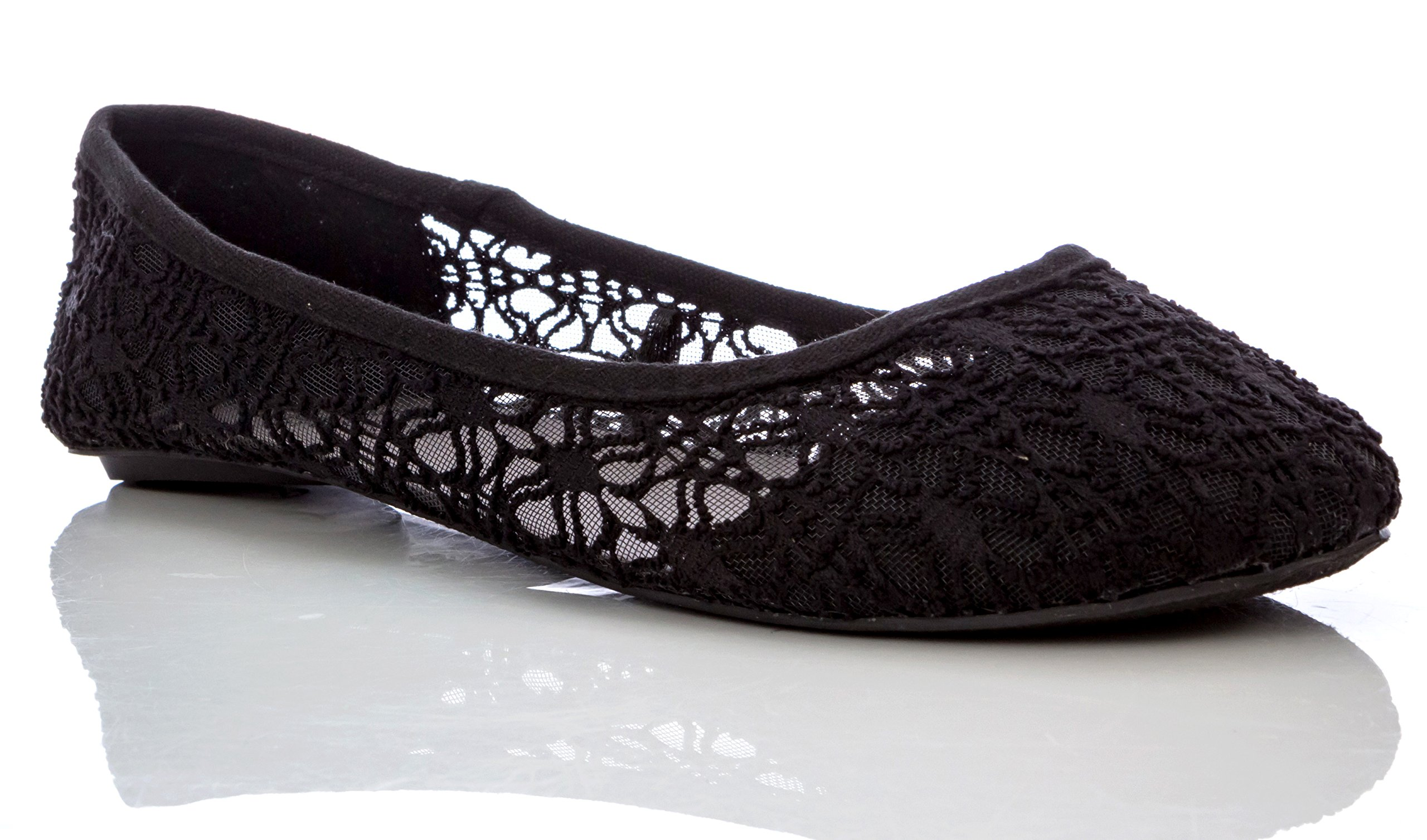 Charles Albert Women's Breathable Crochet Lace Ballet Flat in Black Size: 8