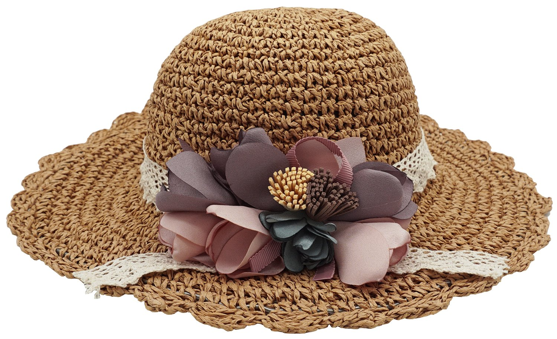 Bienvenu Kids Girl Summer Straw Hat with Flowers Beach Sun Protection Hats,Style2_Khaki