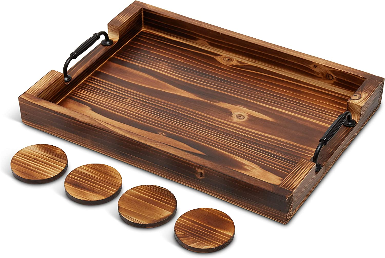 Premium Wood Serving Tray - 20 Inch - Farmhouse Decor - Coffee Table Organizer - Bathroom Vanity - Rustic Ottoman Tray - Thick Comfortable Handles - Breakfast/Coffee/Dinner - 4 Coasters (Brown)