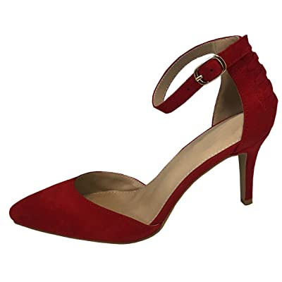 Cambridge Select Women's Strappy Buckle Ankle Closed Pointed Toe Mid Heel Pump | Shoes