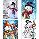 4 Pack Christmas 5D DIY Diamond Painting Full Drill Craft Kit Wall Stickers Sewing Embroidery Cross Stitch Painting for Festival Home Wall Decor (Christmas Snowman, 4 Pcs)