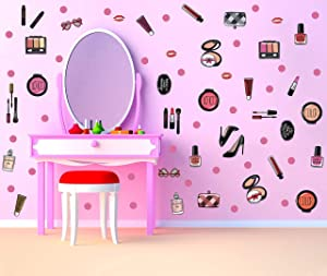 TOARTi Colorful Fashion Cosmetic Wall Decal Beauty Salon Centre Makeup Wall Sticker, Lipstick Handbag Perfume Dots Decal for Girls Women (81pcs)